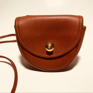 Vintage Coach Small Brown Leather Crossbody Bag